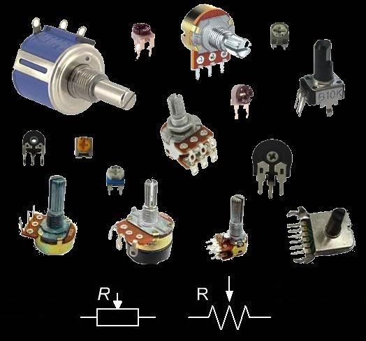 Условное обозначение на схемах переменных резисторов
