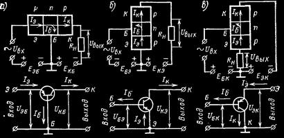 Три схемы включения биполярных транзисторов