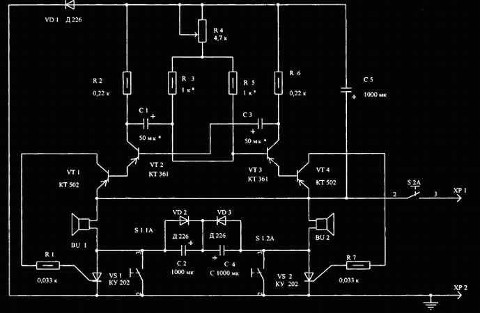 схема зарядного устройства на двух тиристорах.