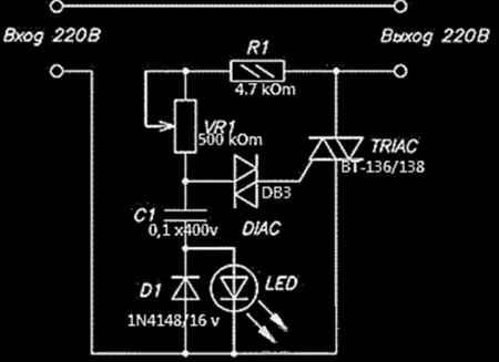 Схема симисторного регулятора