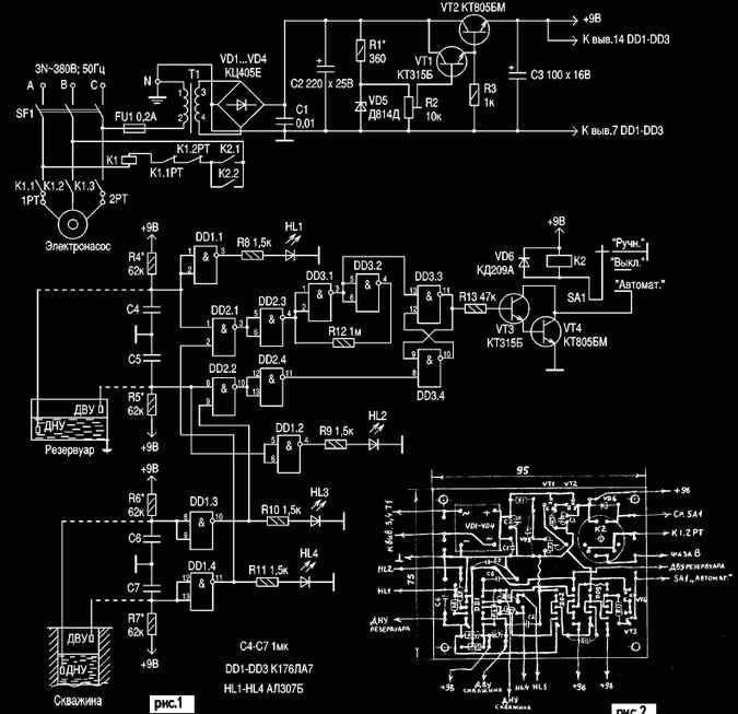 ...насоса. электромагнитный пускатель К1, включающий насос. автоматический трехполюсный выключатель SF1. блок.