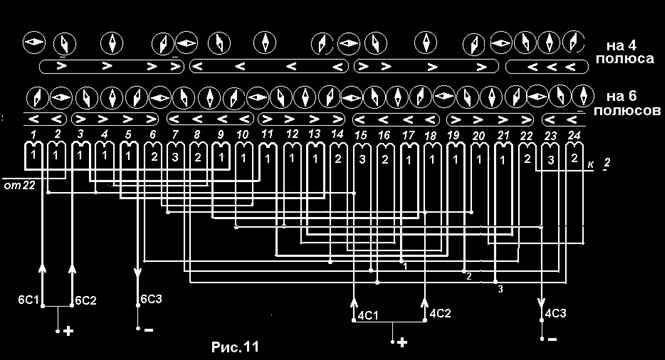 Направление токов на 4 и 6 полюсов
