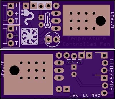 Печатная плата регулятора оборотов вентилятора с датчиком температуры