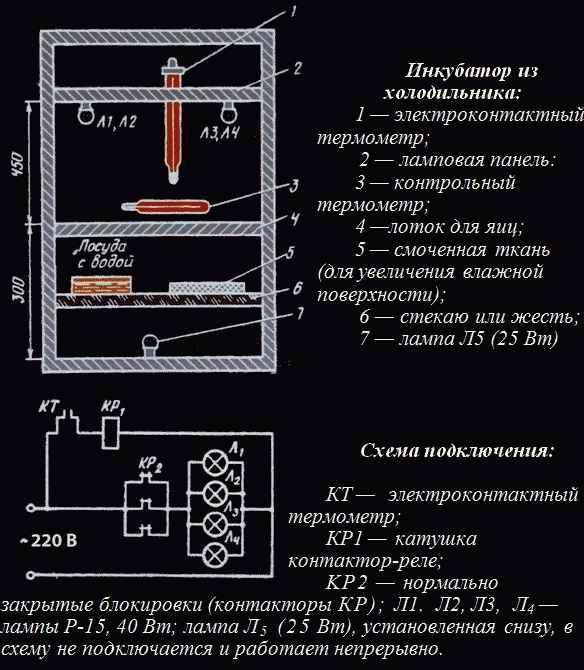 Схема самодельного инкубатора из холодильника
