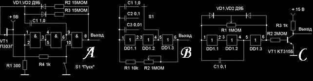 Генераторы импульсов схемы на логических элементах