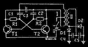 Схема простейшего электрошокового устройства