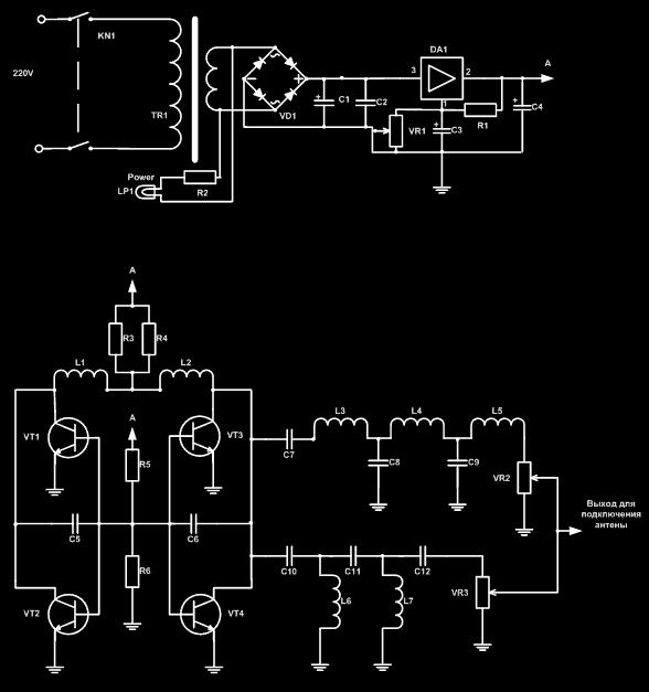 Схема шумогенератора на радиодиапазон