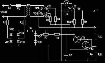Напряжение на выходе зарядного устройства изменяется плавно от 0 до 20 В...