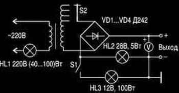 Схема зарядного устройства в котором в разрыв сетевого провода включена лампа накаливания на 220 В