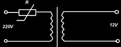 Схема  с применением позистора для защиты обмотки трансформатора