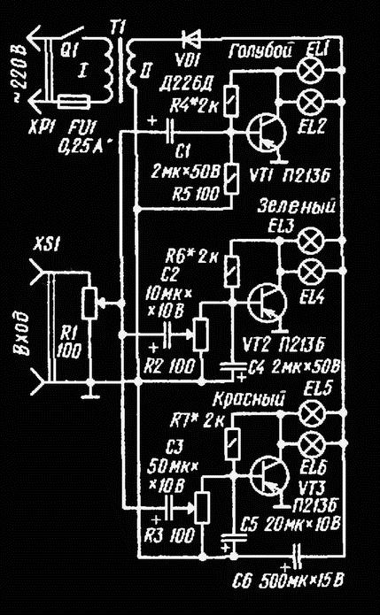Рис. 106. Схема цветомузыкальной приставки на малогабаритных лампах накаливания