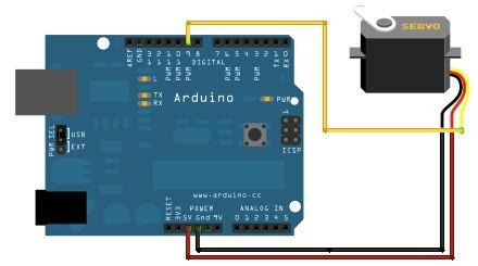 Arduino UNO - схема управления сервоприводом